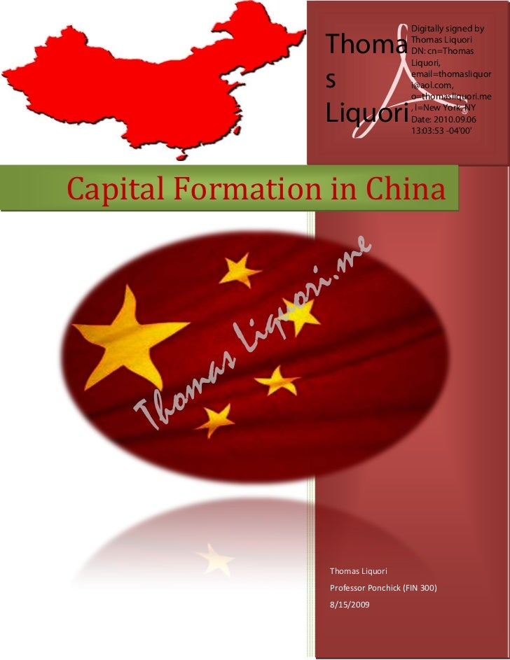 Capital Formation In China