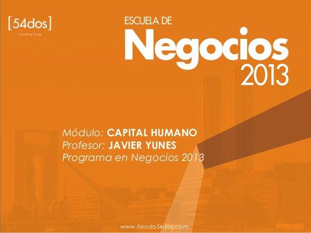 Módulo: CAPITAL HUMANO Profesor: JAVIER YUNES Programa en Negocios 2013 www.tienda54dos.com