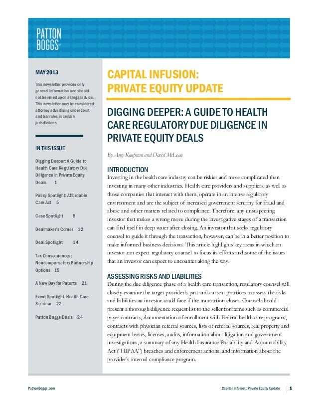 PattonBoggs.com Capital Infusion: Private Equity Update 1MAY 2013This newsletter provides onlygeneral information and shou...