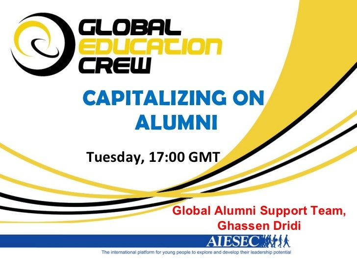 CAPITALIZING ON  ALUMNI Tuesday, 17:00 GMT Global Alumni Support Team, Ghassen Dridi
