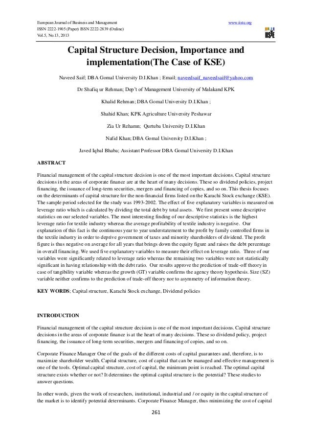European Journal of Business and Management www.iiste.org ISSN 2222-1905 (Paper) ISSN 2222-2839 (Online) Vol.5, No.13, 201...