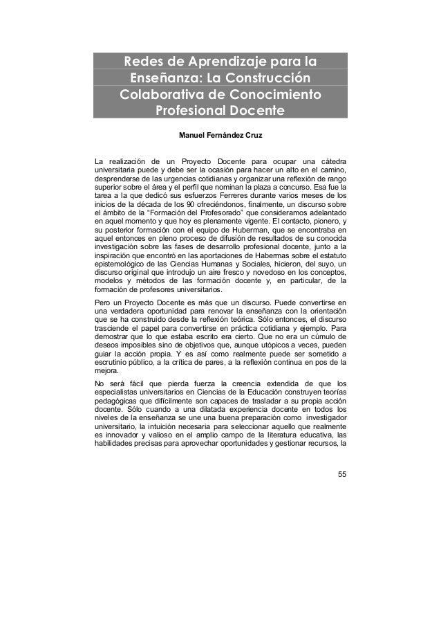 Redes de Aprendizaje para la        Enseñanza: La Construcción       Colaborativa de Conocimiento            Profesional D...