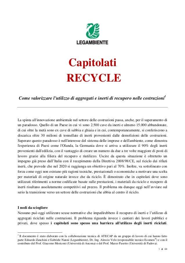 Capitolati RECYCLE 2014