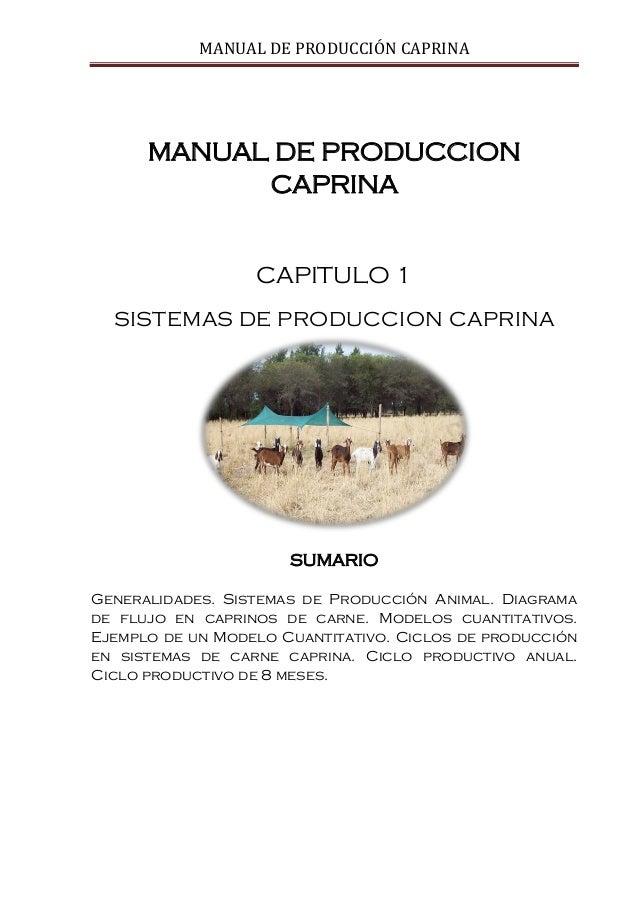 MANUAL DE PRODUCCIÓN CAPRINA MANUAL DE PRODUCCION CAPRINA CAPITULO 1 SISTEMAS DE PRODUCCION CAPRINA SUMARIO Generalidades....