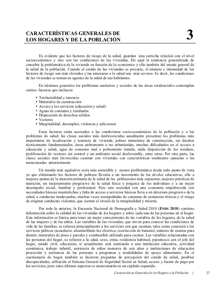 CARACTERÍSTICAS GENERALES DELOS HOGARES Y DE LA POBLACIÓN                                                                 ...