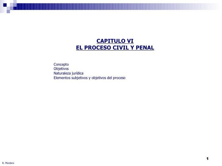 R. Montero CAPITULO VI EL PROCESO CIVIL Y PENAL Concepto Objetivos Naturaleza jurídica Elementos subjetivos y objetivos de...
