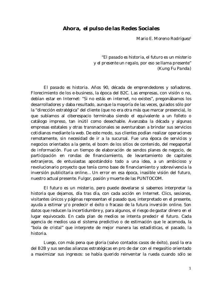 Ahora, el pulso de las Redes Sociales Mario E. Moreno Rodríguez