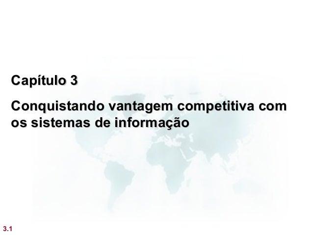 Capítulo 3  Conquistando vantagem competitiva com  os sistemas de informação3.1