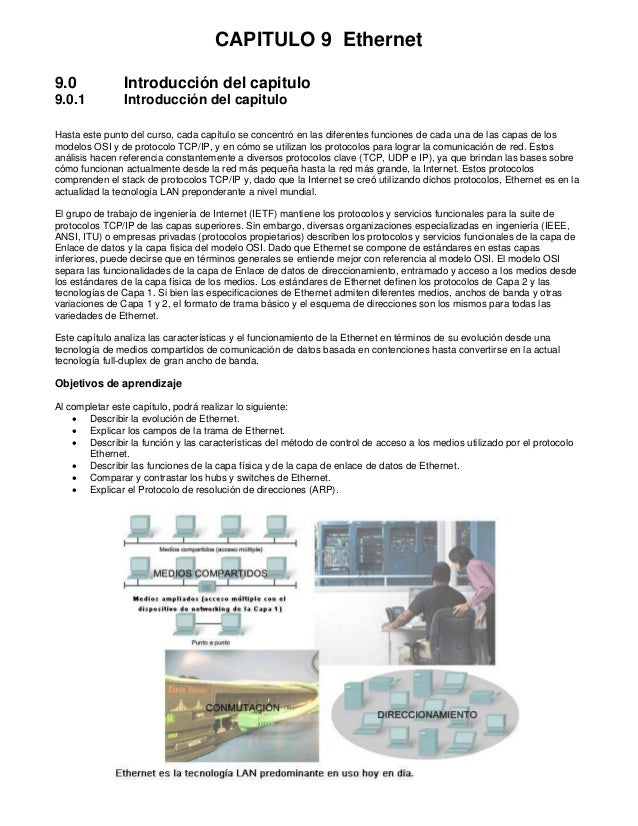 CAPITULO 9 Ethernet9.0             Introducción del capitulo9.0.1           Introducción del capituloHasta este punto del ...