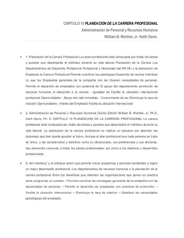 CAPITULO 10 PLANEACION DE LA CARRERA PROFESIONAL                                          Administración de Personal y Rec...