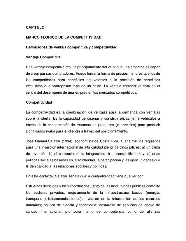 CAPITULO IMARCO TEORICO DE LA COMPETITIVIDADDefiniciones de ventaja competitiva y competitividadVentaja CompetitivaUna ven...
