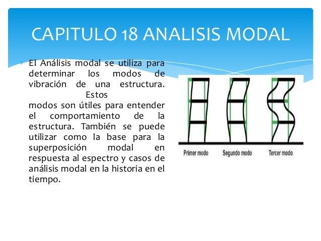 CAPITULO 18 ANALISIS MODALEl Análisis modal se utiliza paradeterminar los modos devibración de una estructura.            ...