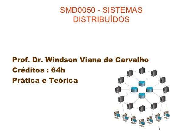 SMD0050 - SISTEMAS              DISTRIBUÍDOSProf. Dr. Windson Viana de CarvalhoCréditos : 64hPrática e Teórica            ...