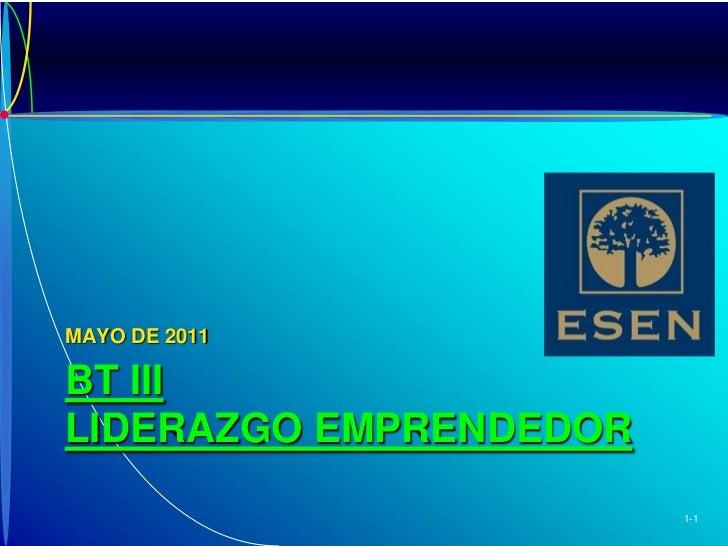 BT III LIDERAZGO EMPRENDEDOR<br />MAYO DE 2011<br />