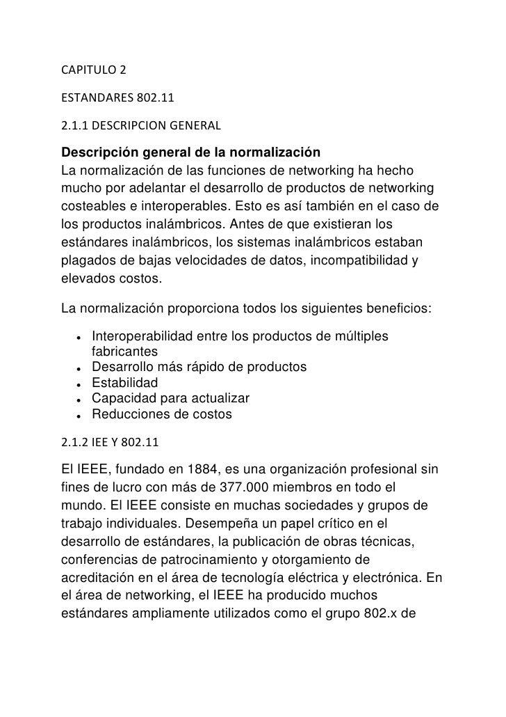 CAPITULO 2ESTANDARES 802.112.1.1 DESCRIPCION GENERALDescripción general de la normalizaciónLa normalización de las funcion...