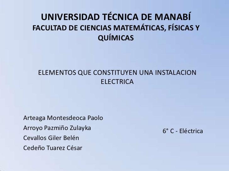 UNIVERSIDAD TÉCNICA DE MANABÍ  FACULTAD DE CIENCIAS MATEMÁTICAS, FÍSICAS Y                  QUÍMICAS    ELEMENTOS QUE CONS...
