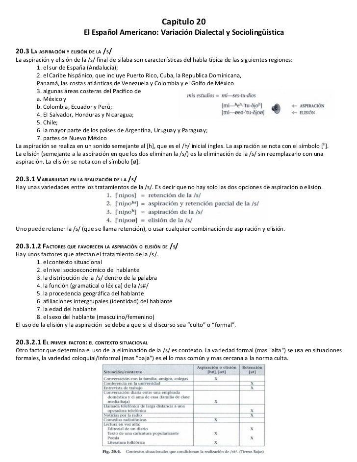 Capítulo 20                           El Español Americano: Variación Dialectal y Sociolingüística20.3 LA ASPIRACIÓN Y ELI...