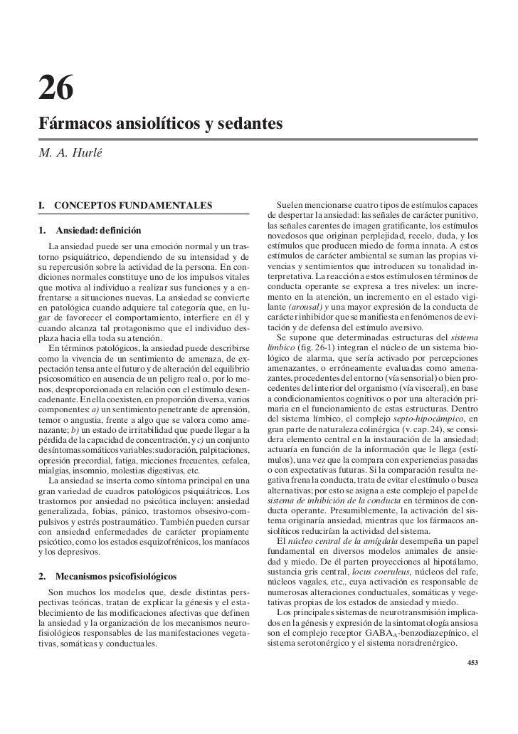 26Fármacos ansiolíticos y sedantesM. A. HurléI.   CONCEPTOS FUNDAMENTALES                                       Suelen men...