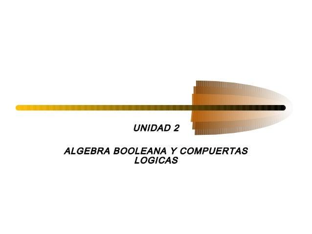 UNIDAD 2ALGEBRA BOOLEANA Y COMPUERTAS           LOGICAS