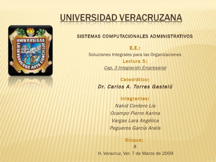 SISTEMAS COMPUTACIONALES ADMINISTRATIVOS  E.E.: Soluciones Integrales para las Organizaciones Lectura 5: Cap. 3 Integra...