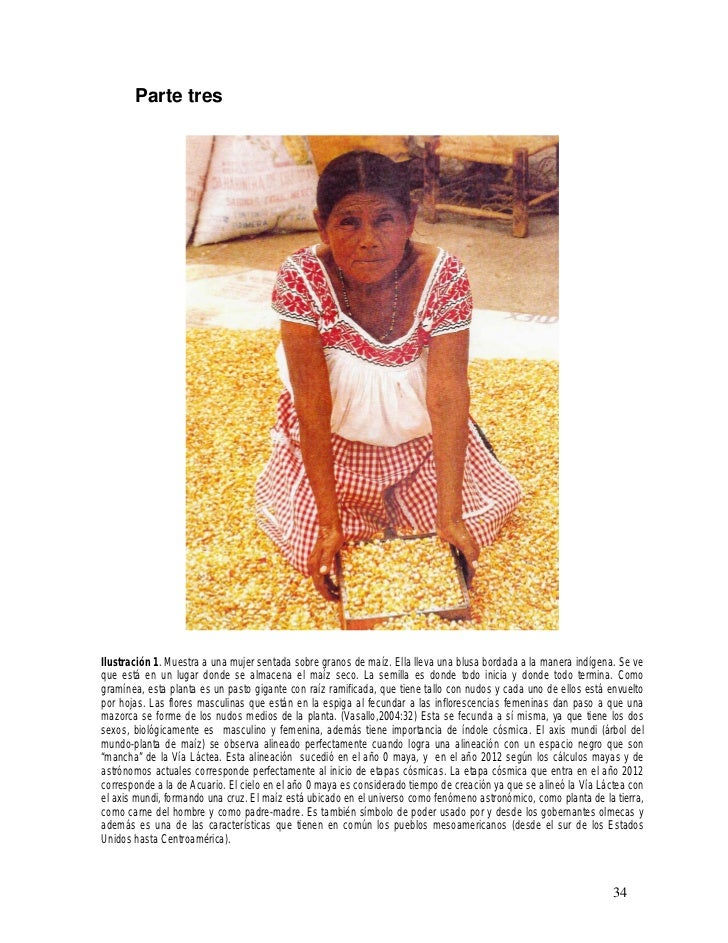 Parte tresIlustración 1. Muestra a una mujer sentada sobre granos de maíz. Ella lleva una blusa bordada a la manera indíge...