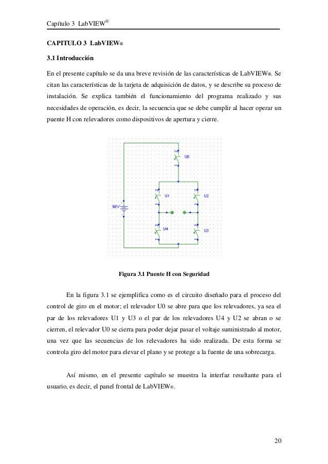 Capítulo 3 LabVIEW® 20 CAPITULO 3 LabVIEW® 3.1 Introducción En el presente capítulo se da una breve revisión de las caract...