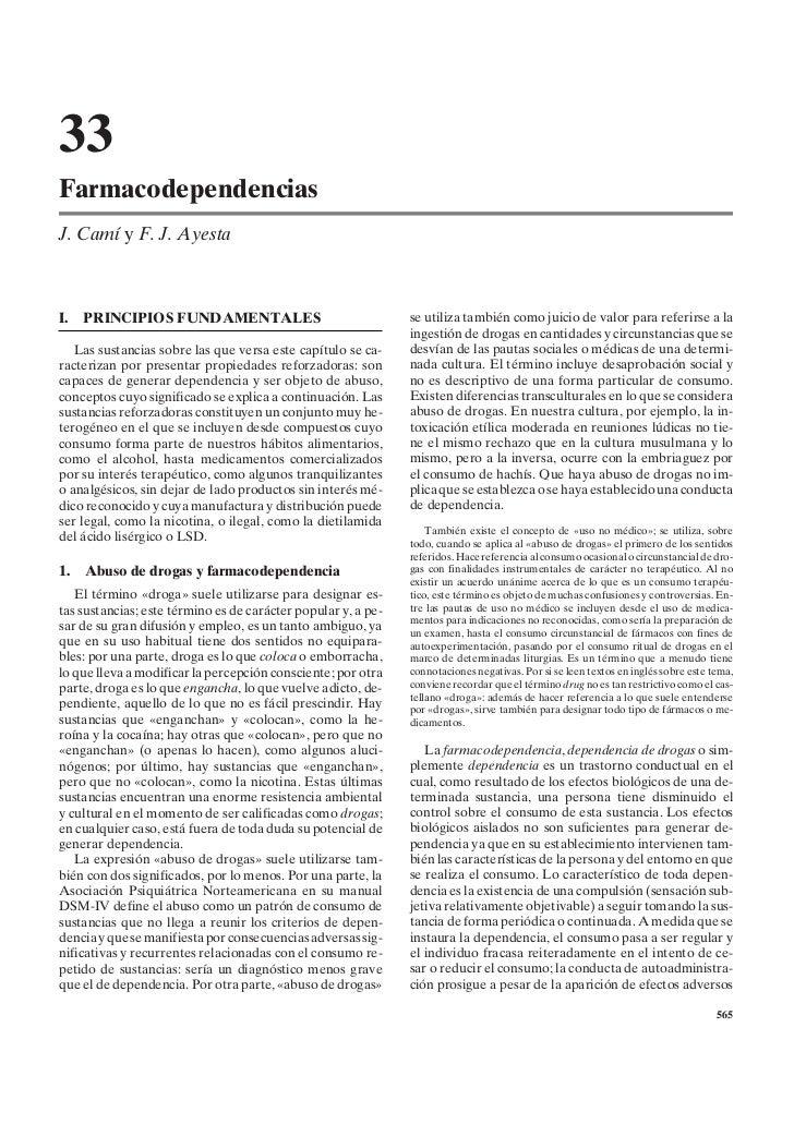 33FarmacodependenciasJ. Camí y F. J. AyestaI.   PRINCIPIOS FUNDAMENTALES                                  se utiliza tambi...