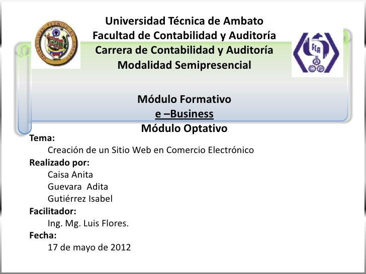 Universidad Técnica de Ambato              Facultad de Contabilidad y Auditoría               Carrera de Contabilidad y Au...