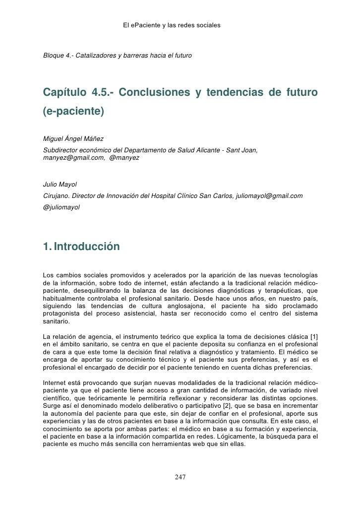 El ePaciente y las redes socialesBloque 4.- Catalizadores y barreras hacia el futuroCapítulo 4.5.- Conclusiones y tendenci...