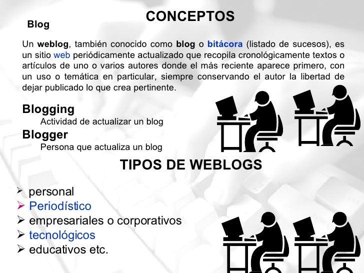 Un  weblog , también conocido como  blog  o  bitácora  (listado de sucesos), es un sitio  web  periódicamente actualizado ...