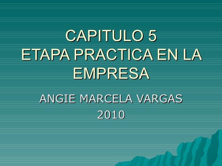 CAPITULO 5 ETAPA PRACTICA EN LA EMPRESA ANGIE MARCELA VARGAS 2010