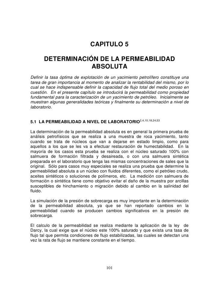 CAPITULO 5         DETERMINACIÓN DE LA PERMEABILIDAD                    ABSOLUTA Definir la tasa óptima de explotación de ...