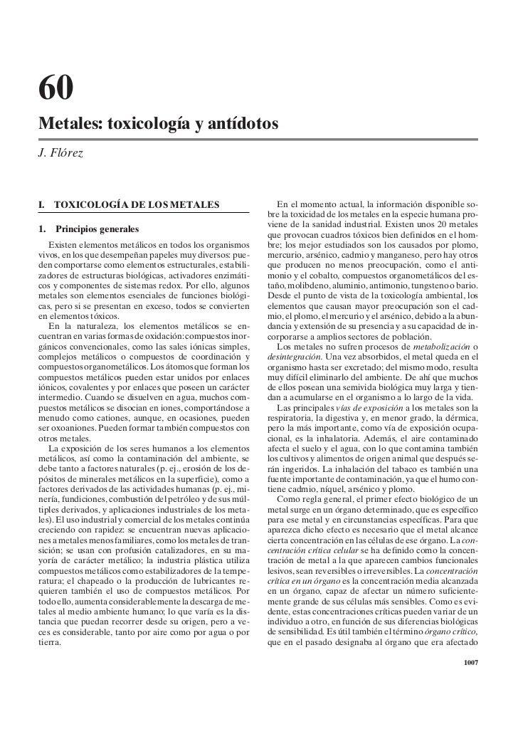 60Metales: toxicología y antídotosJ. FlórezI.   TOXICOLOGÍA DE LOS METALES                                  En el momento ...