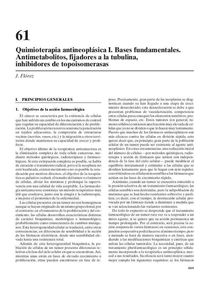 61Quimioterapia antineoplásica I. Bases fundamentales.Antimetabolitos, fijadores a la tubulina,inhibidores de topoisomeras...