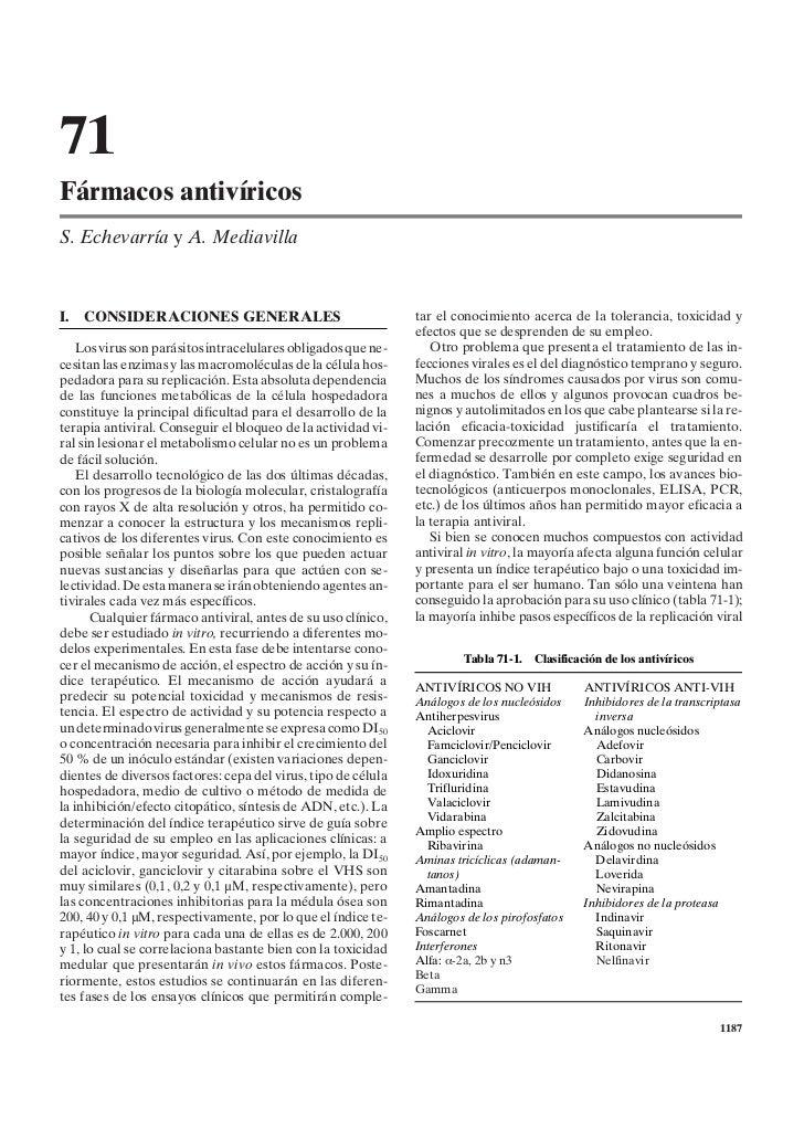 71Fármacos antivíricosS. Echevarría y A. MediavillaI.   CONSIDERACIONES GENERALES                                 tar el c...