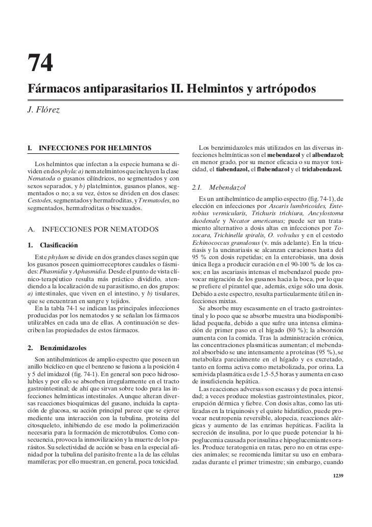 74Fármacos antiparasitarios II. Helmintos y artrópodosJ. FlórezI.   INFECCIONES POR HELMINTOS                             ...