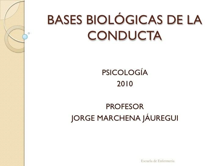 BASES BIOLÓGICAS DE LA CONDUCTA<br />PSICOLOGÍA <br />2010<br />PROFESOR<br />JORGE MARCHENA JÁUREGUI<br />Escuela de Enfe...