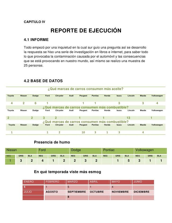 CAPITULO IV<br />REPORTE DE EJECUCIÓN<br />4.1 INFORME<br />Todo empezó por una inquietud en la cual sur guio una pregunta...