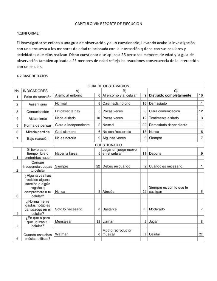 1270-2298700CAPITULO VII: REPORTE DE EJECUCION4.1INFORMEEl investigador se enfoco a una guía de observación y a un cuestio...