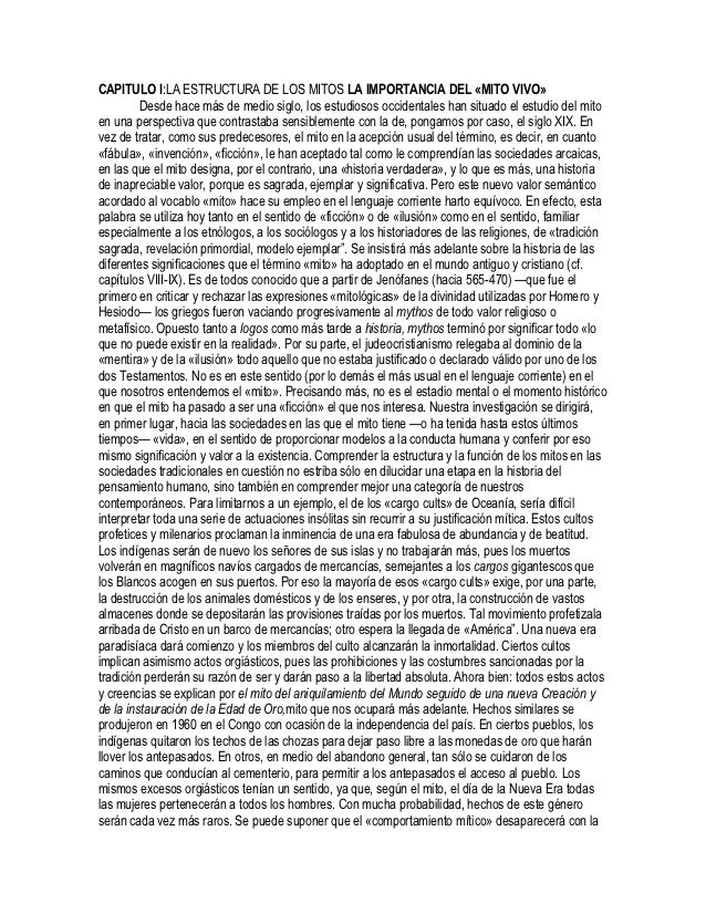 CAPITULO I:LA ESTRUCTURA DE LOS MITOS LA IMPORTANCIA DEL «MITO VIVO»         Desde hace más de medio siglo, los estudiosos...