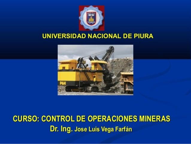 UNIVERSIDAD NACIONAL DE PIURACURSO: CONTROL DE OPERACIONES MINERAS         Dr. Ing. Jose Luis Vega Farfán