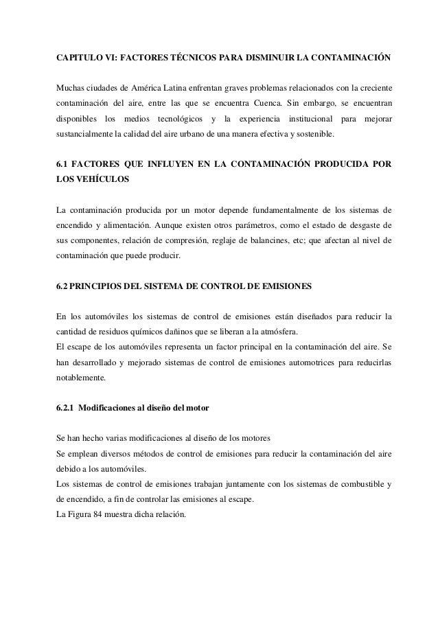 CAPITULO VI: FACTORES TÉCNICOS PARA DISMINUIR LA CONTAMINACIÓNMuchas ciudades de América Latina enfrentan graves problemas...