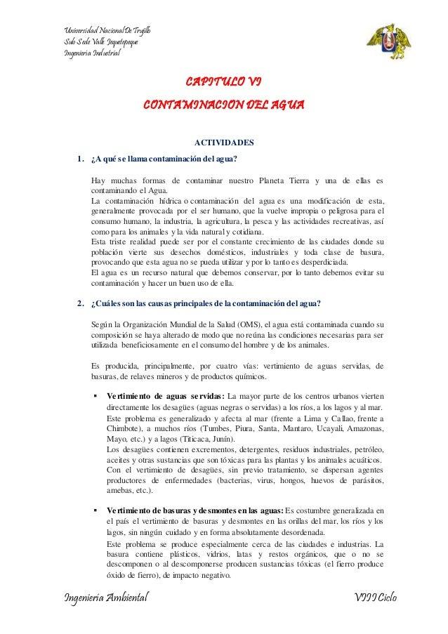 Universidad Nacional De Trujillo  Sub Sede Valle Jequetepeque  Ingeniería Industrial  CAPITULO VI  CONTAMINACION DEL AGUA ...