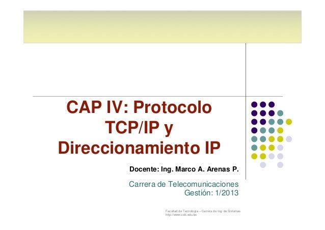 CAP IV: Protocolo  TCP/IP y  Direccionamiento IP  Docente: Ing. Marco A. Arenas P.  Carrera de Telecomunicaciones  Gestión...