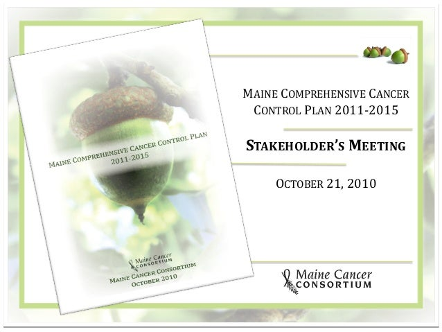 1 MAINE COMPREHENSIVE CANCER CONTROL PLAN 2011-2015 STAKEHOLDER'S MEETING OCTOBER 21, 2010