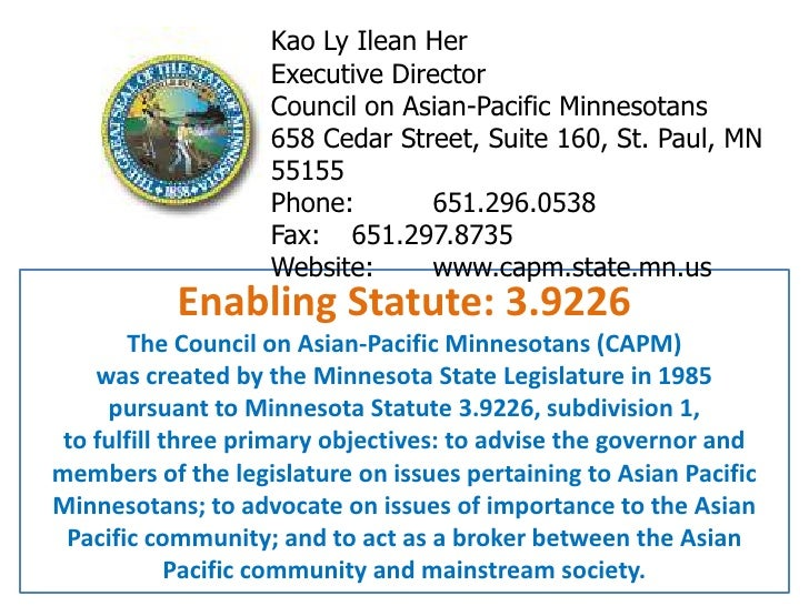 Kao Ly Ilean Her<br />Executive Director<br />Council on Asian-Pacific Minnesotans <br />658 Cedar Street, Suite 160, St. ...