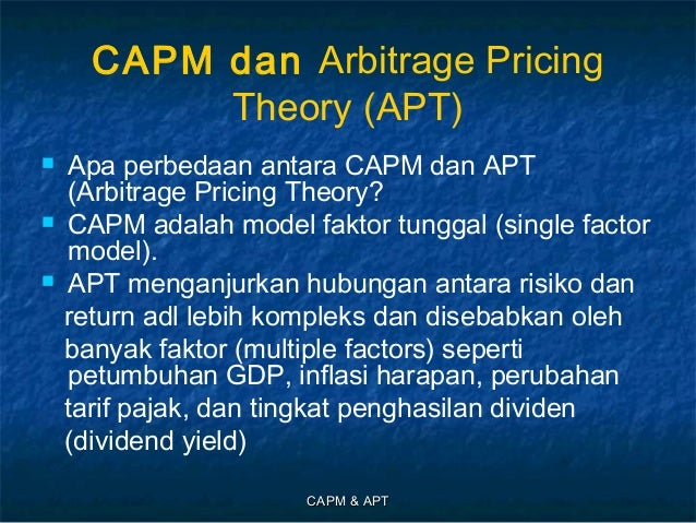 capital asset pricing model capm vs arbitrage pricing The advantages and disadvantages of the capm model i arbitrage pricing theory (cfa level 1) this video is part of a bluebook academy course: quantitative met.