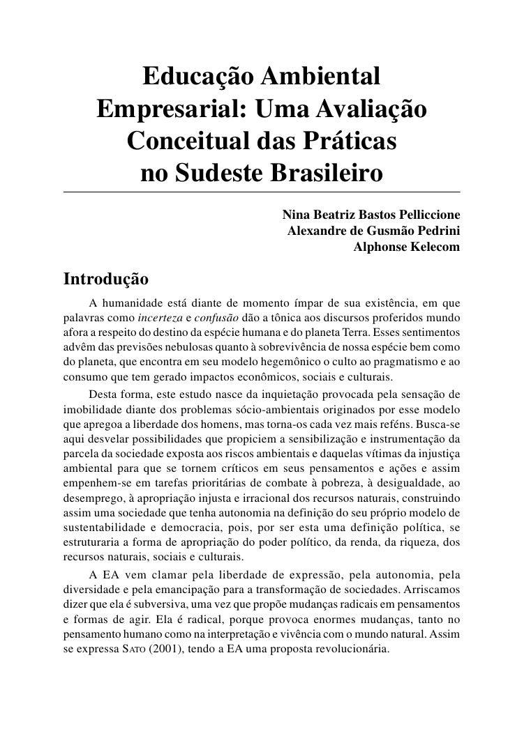 Educação Ambiental       Empresarial: Uma Avaliação         Conceitual das Práticas          no Sudeste Brasileiro        ...