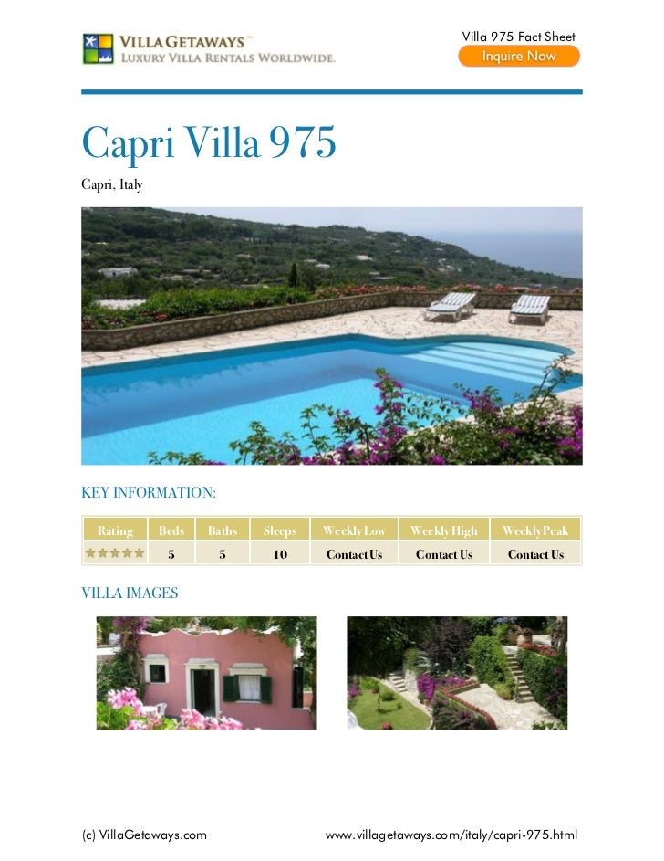 Villa 975 Fact SheetCapri Villa 975Capri, ItalyKEY INFORMATION:   Rating      Beds     Baths   Sleeps   Weekly Low    Week...