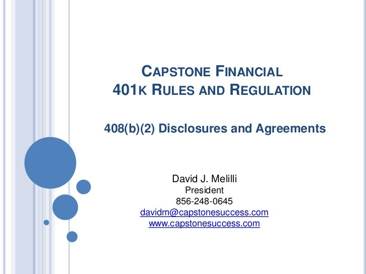 Capstone Financial 408(b)(2) disclosures and agreements